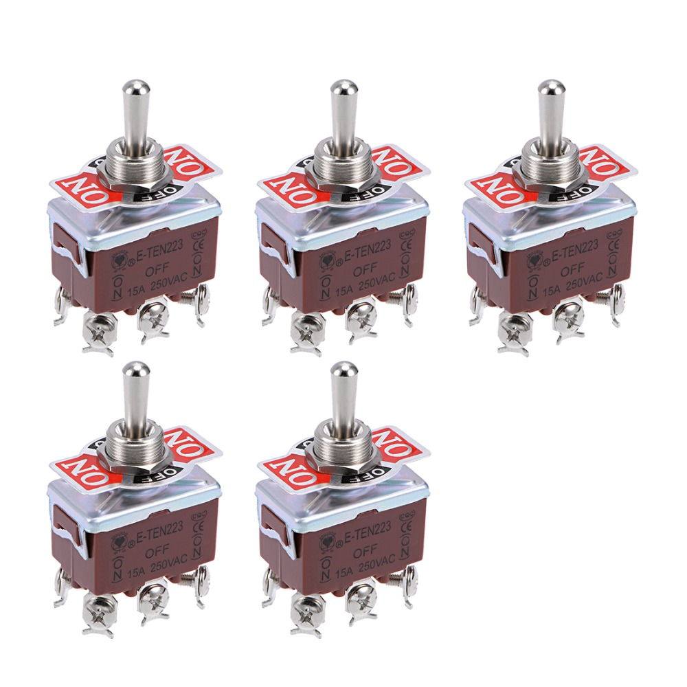 uxcell 4PDT Lacthing Rocker Toggle Switch Heavy-Duty 15A 250V 12P ON//Off//ON Metal Bat 2pcs