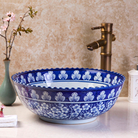 Asian style blue and white fish design art counter top sink Chinese ceramic bathroom sinks