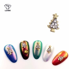 LEAMX 2018 New Christmas tree Rhinestones For Nails Design Year Decoration 3D Nail Art Decorations Accessoire