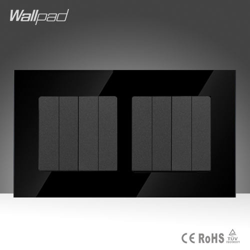 Wallpad Hot Sales 8 Gang 1 Way Black Crystal Glass UK Standard 146*86mm Double Frame Push Button Light Switches ,Free Shipping hot sales 1 gang 2 way wallpad crystal glass uk eu double control push button light wall switch amazing discount