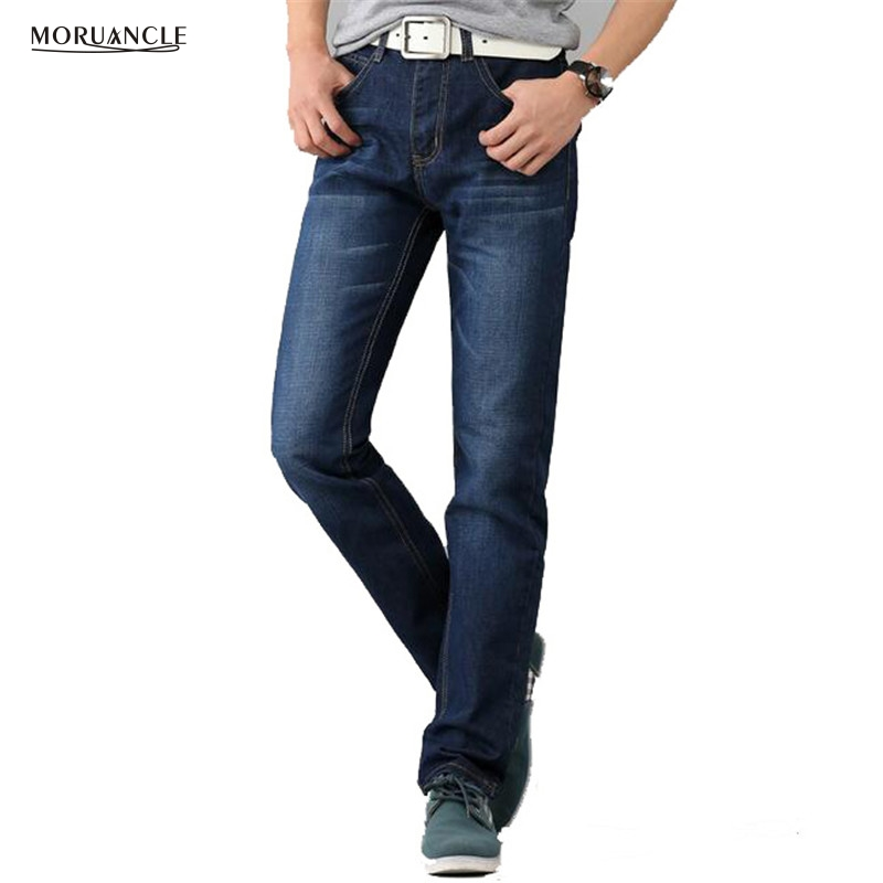 MORUANCLE Fashion New Men's Jeans Pants Slim Fit Straight Denim Joggers For Male Washed Blue Size 28-38 Cheap Spring Autumn 1 pcs jeans for men cheap china straight regular fit denim jeans pants classic blue color brand clothes size 28 to 38 bn446