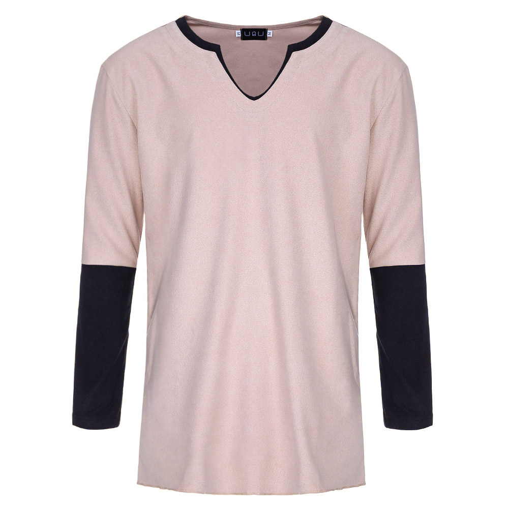 Fashion Mens Slim Fit Long Sleeve T-Shirts Stylish Luxury Men V Neck T Shirt Tops Tee Size M-2XL