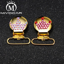 MIYOCAR 10pcs/lot bling colorful crown round shape gold sliver pacifier clip dummy holder good quality SP028