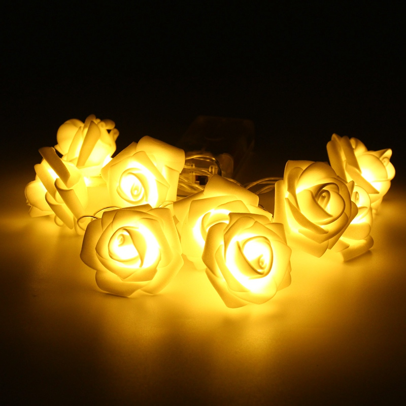 1M 9 LED String Light Christmas Battery Rose Flower LED Fairy Lights Indoor Wedding Holiday Party Bedroom Decoration DC3V