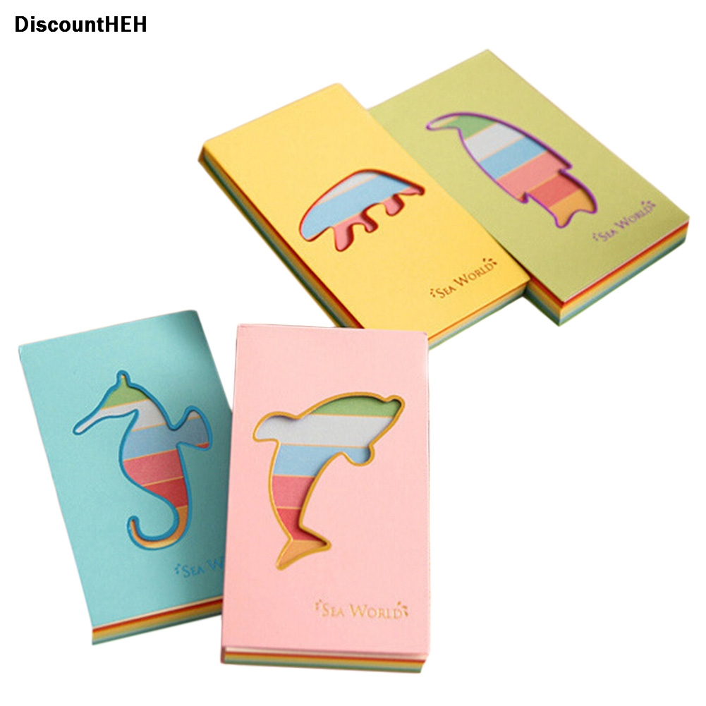 Style random Hollow Cute Candy Color Marine Animal Notebook Sticky Memo Pad Message Posted Notepad School Office Supplies