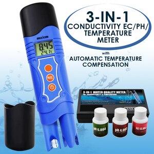 3 em 1 condutividade ec & ph & temperatura multi-parâmetro testador caneta digital atc, teste de qualidade da água analisar kit de calibração