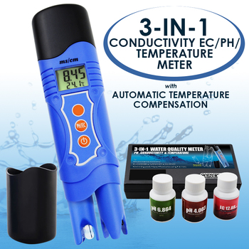 3-in-1 Conductivity EC & pH & Temperature Multi-parameter Tester Digital Pen ATC, Water Quality Test Analyze Calibration Kit