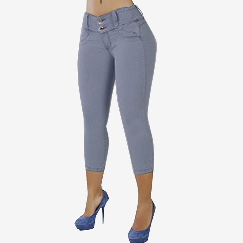 S 5XL ZANZEA Women Summer Stretch Skinny   Capris   Pantalon Fashion Casual Solid High Waist Slim Trousers Denim Blue Pencil   Pants