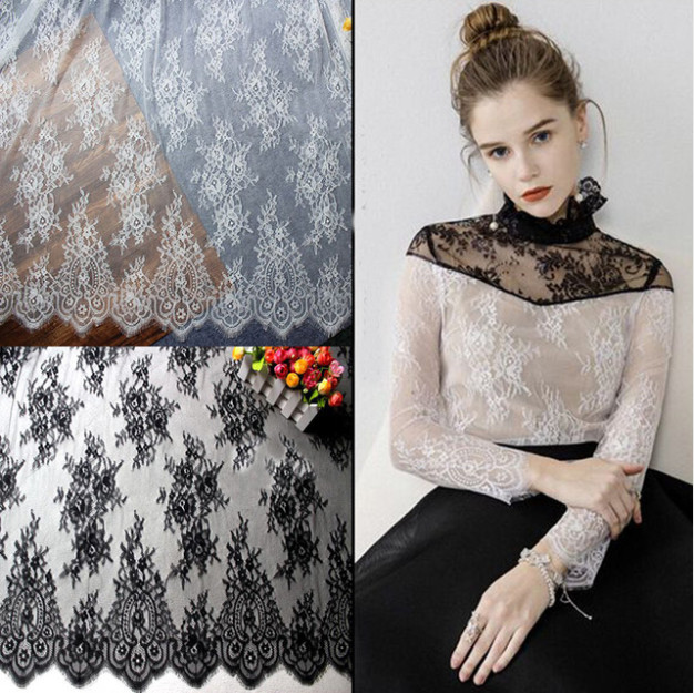 Width 150cm White Black Floral Embroidered Eyelash Lace Ribbon for Garment Decoration and DIY Craft Trimming 3meters/lot