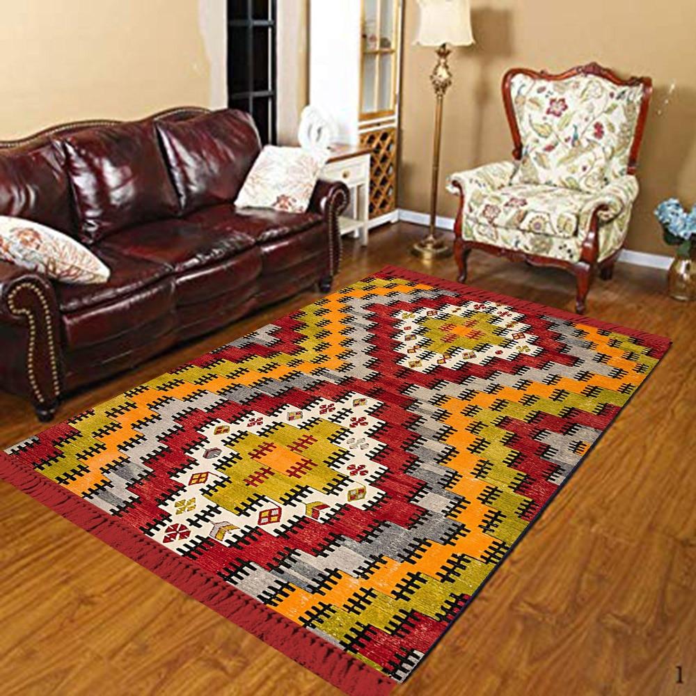 Else Yellow Red Gray Green Ethnic Ottoman Design 3d Print Anti Slip Kilim Washable Decorative Kilim Area Rug Bohemian Carpet