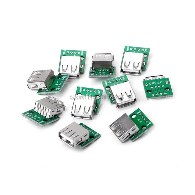 10 Teile/satz USB 2.0 Buchse für DIP 4 P Adapter Stecker 2,54mm ...