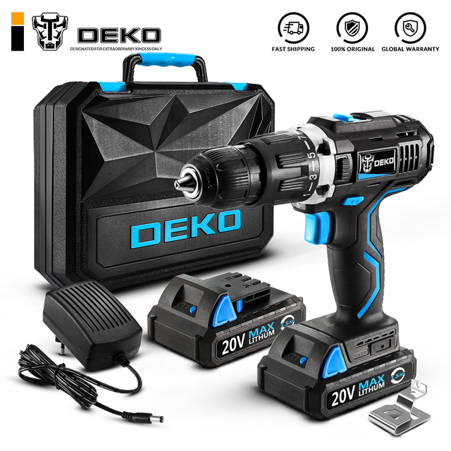 DEKO GCD20DU 20 V מקסימום ביתי DIY נגרות ליתיום יון אלחוטי כוח כלים חשמלי תרגיל כוח תרגיל