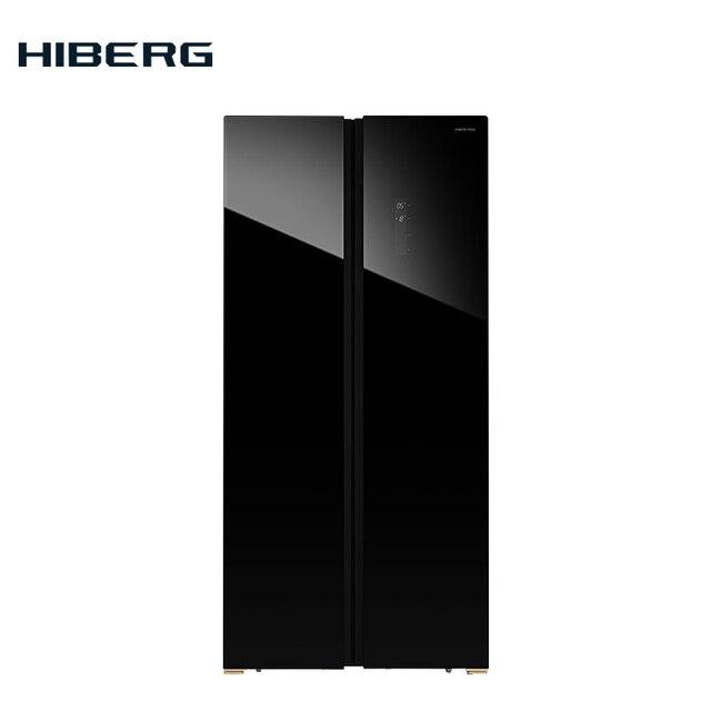 Холодильник Side-by-Side HIBERG RFS-480D NFGB, цвет стеклянного фасада - черный