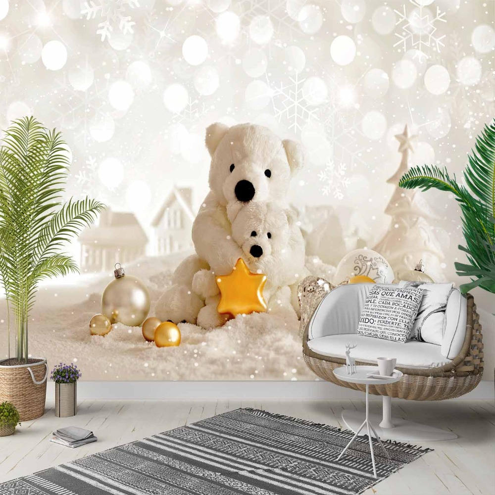 Else White Snow Teddy Bears Yellow Stars 3d Photo Cleanable Fabric Mural Home Decor Living Room Bedroom Background Wallpaper