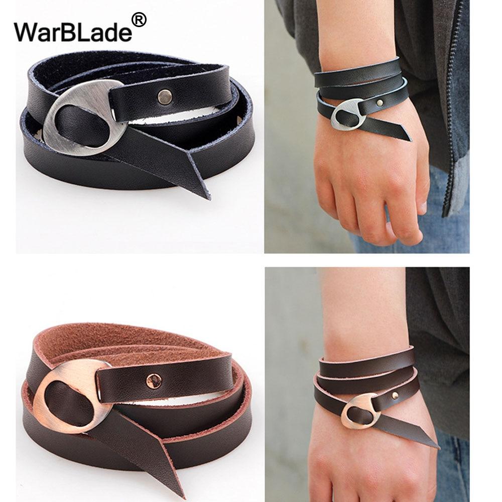 WarBLade 2018 New Design Black Men Bracelets Bangles Fashion Jewelry Multilayer Genuine Leather Bracelet For Women Wristband
