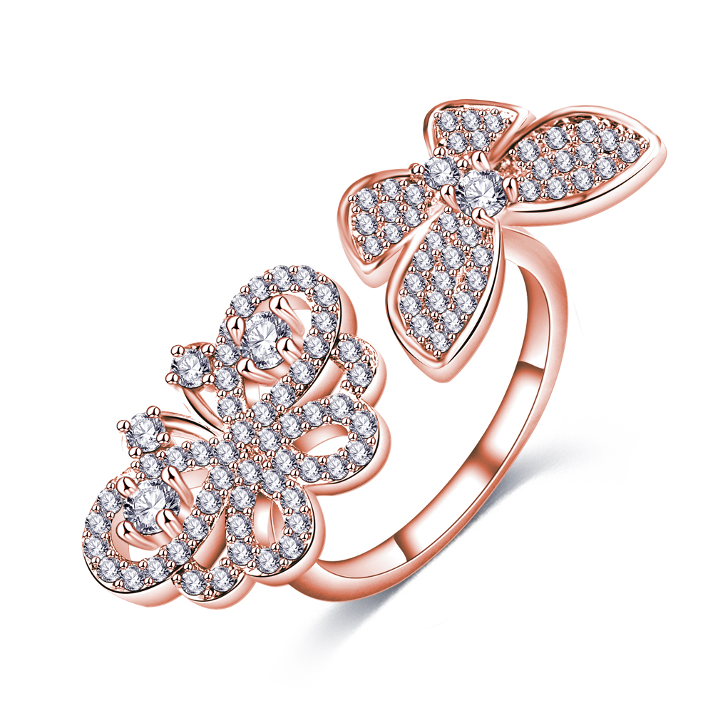 Suplush Particular Design Luxury CZ Rings Double Butterfly Shaped Rose Gold/Silver Color ...