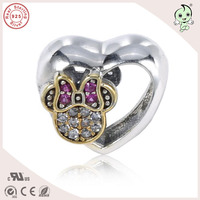 New Arrival Good Quality Lovely Gold 925 Sterling Silver Mickey Heart Charm Fitting European Famous Bracelet