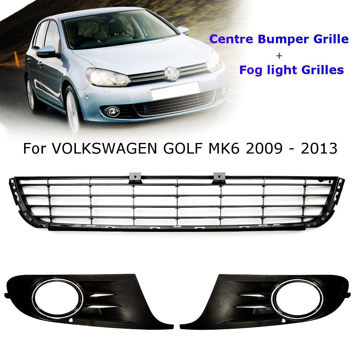 Car Front Lower Centre Bumper Grille+Fog Light Grilles Black For VW GOLF MK6 2009 2010 2011 2012 2013 grille
