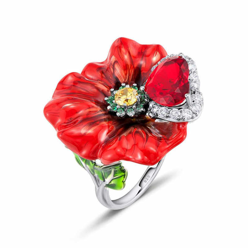 100% 925 Sterling Silver Flower Ring Women Customized Enamel Flower and Big Red Stone Party Ring for Women Enamel Flower Jewelry