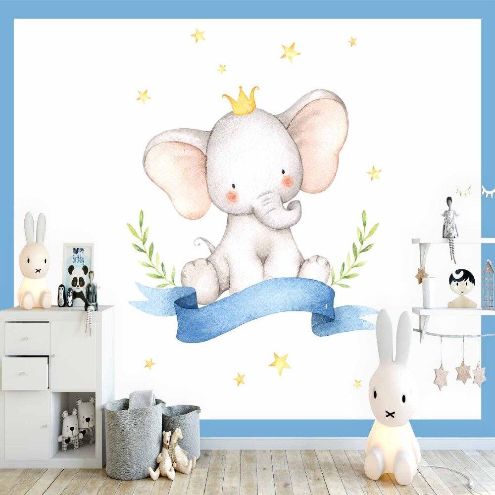 Else Blue Frame Elephant Yellow Star Moon Boy 3d Print Cartoon Cleanable Fabric Mural Kids Children Room Background Wallpaper