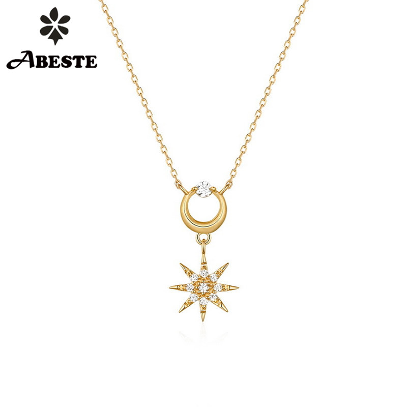 ANI 14K Solid Yellow Gold Women Wedding Necklace Fashion CZ Engagement collares Pendant Necklace Chain Zircon Clover ShapeANI 14K Solid Yellow Gold Women Wedding Necklace Fashion CZ Engagement collares Pendant Necklace Chain Zircon Clover Shape