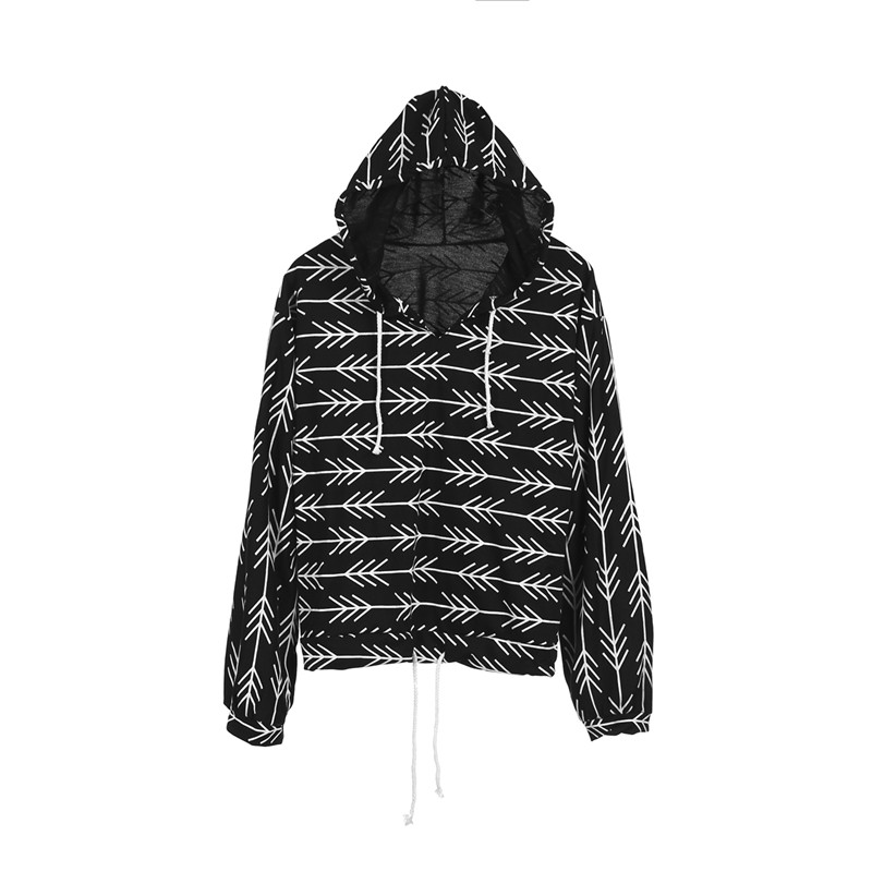 Black Women Hooded Hoodies Fashion Soft 2018 New Autumn Full Sleeve Loose Tops Print Sweatshirts Femme Casual Pullovers Clothes