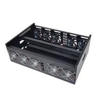 9 GPU Mining Rig Aluminum Case Computer ETH Miner Frame Rig + 10 Fans Open Air Frame DIY Mining Frame Server Chassis For BTB