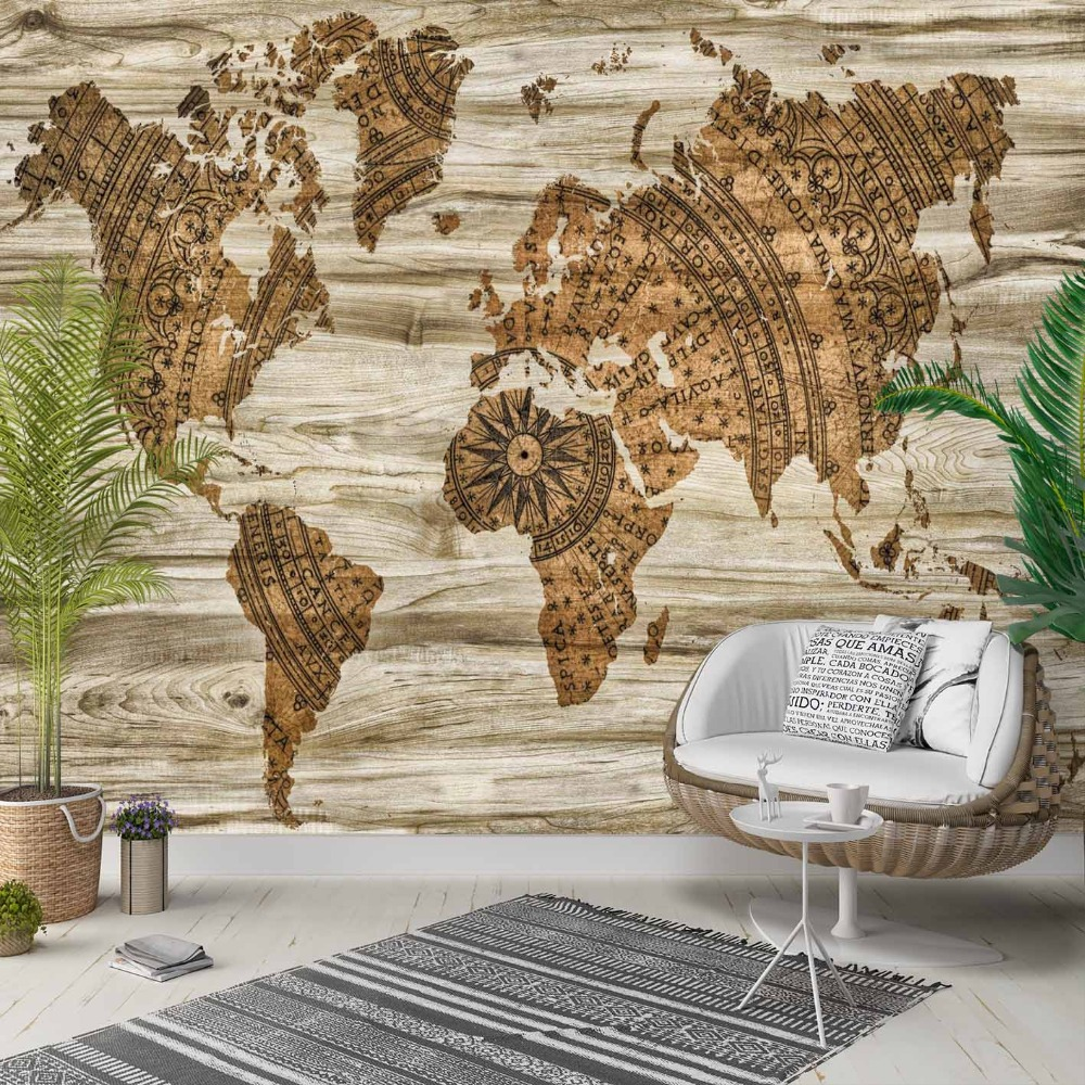 Else Brown Vintage Wood Earth World Map  3d Photo Cleanable Fabric Mural Home Decor Living Room Bedroom Background Wallpaper
