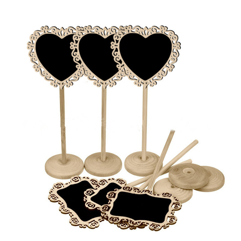 60pcs Wooden Hollow Lace Blackboard Chalkboard on Stick Wood Message Board Rustic Wedding Decor Party Table Number Sign Label