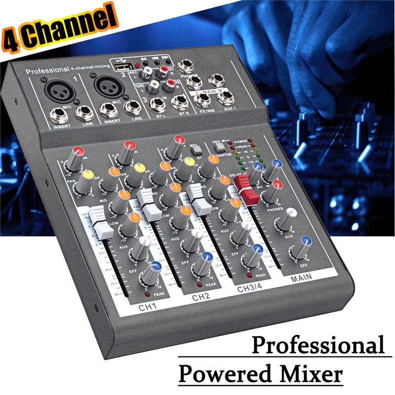 4 Channel Professional Digital Microphone Sound Mixing Console Powered Mixer 110-220V Phantom Power For DJ Karaoke Audio Mix professional pmx402d usb 4 channel powered dj mixer power mixing amplifier amp usb