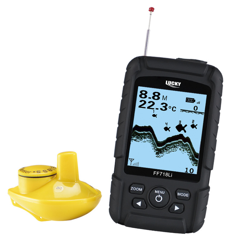 Lucky FF718Li-W Single Wireless Fish Finder Outdoor 45M/147ft Depth Detector Fish Alarm Sonar Transducer Fishfinder Fishing Tool
