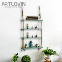 4 Layers Vintage Decorative Wall shelf Wood for book and Artificial Flower Wooden Home Decor Retro Style Haning Storage Plate