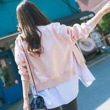 NiceMix 2019 womens windbreaker jacket  denim Jacket Long Sleeve Coat Casual Stand Collar Thin Slim Fit Outerwear