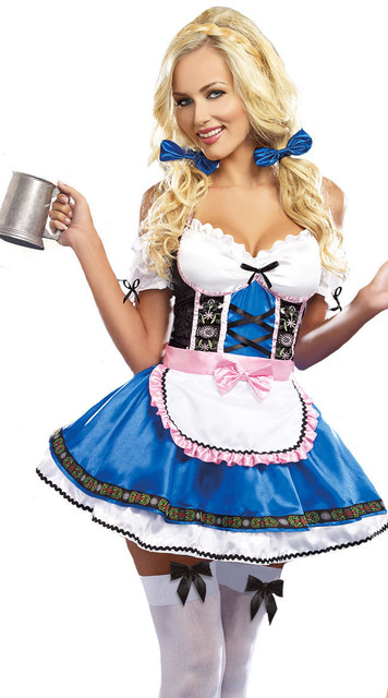 Women German Dirndl Oktoberfest Costume Bavarian Heidi Beer Girl Costume