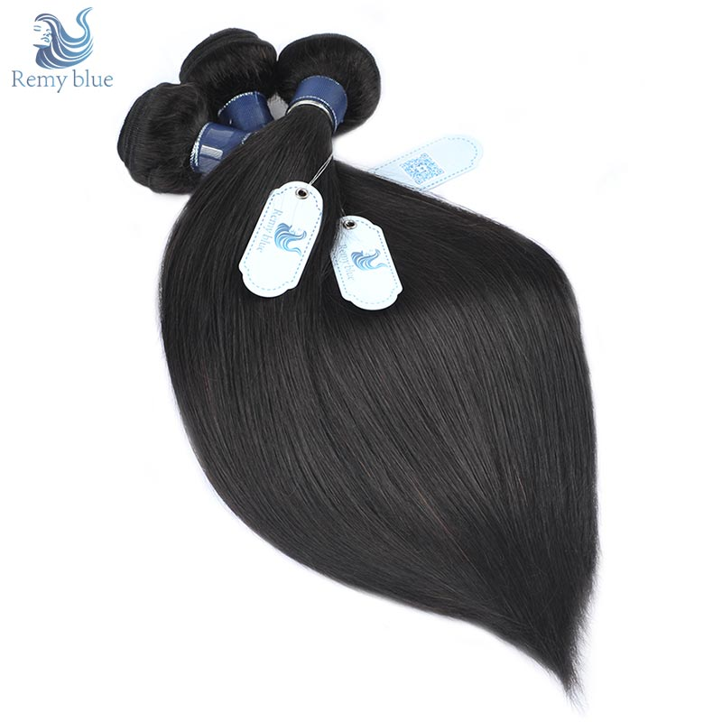 Remy Blue Hair Straight Brazilian Hair Weave Bundle Natural Color 100 Remy Human Hair Weft Extensions 3 Bundles Deals 10-26 Inch