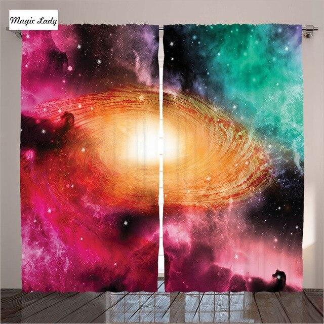 Couleur Rideaux Orange Rose Vert Salon Chambre Lu0027astronomie Des Sciences De  Spirale Galaxy Étoiles