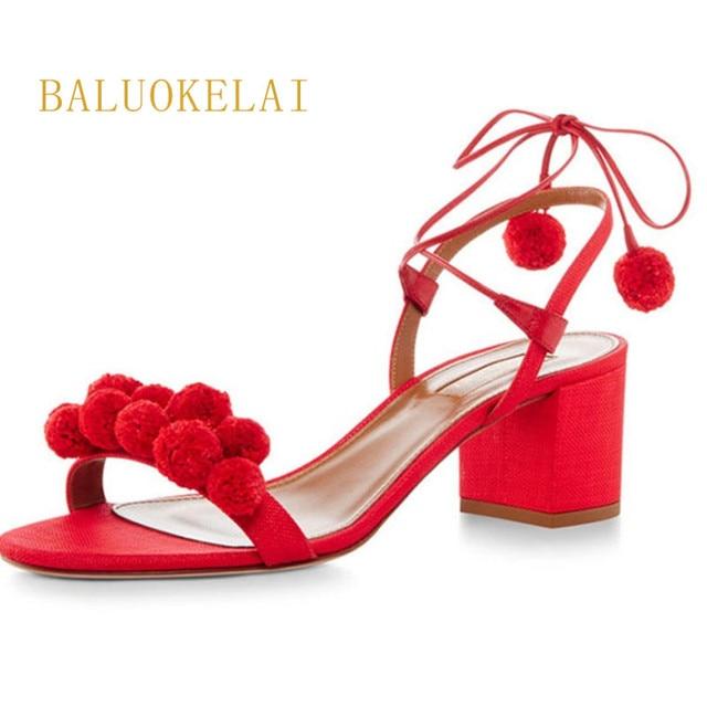 0ff37692 Shoes Woman Gladiator Sandals Women Summer Lace Up Denim Sandals Red 6CM  Thick Heels Open Toe Fashion Women Sandals K-004