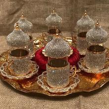 6 человек чайный сервиз кристаллы и бусины серебро n золото цвет с большим лотком