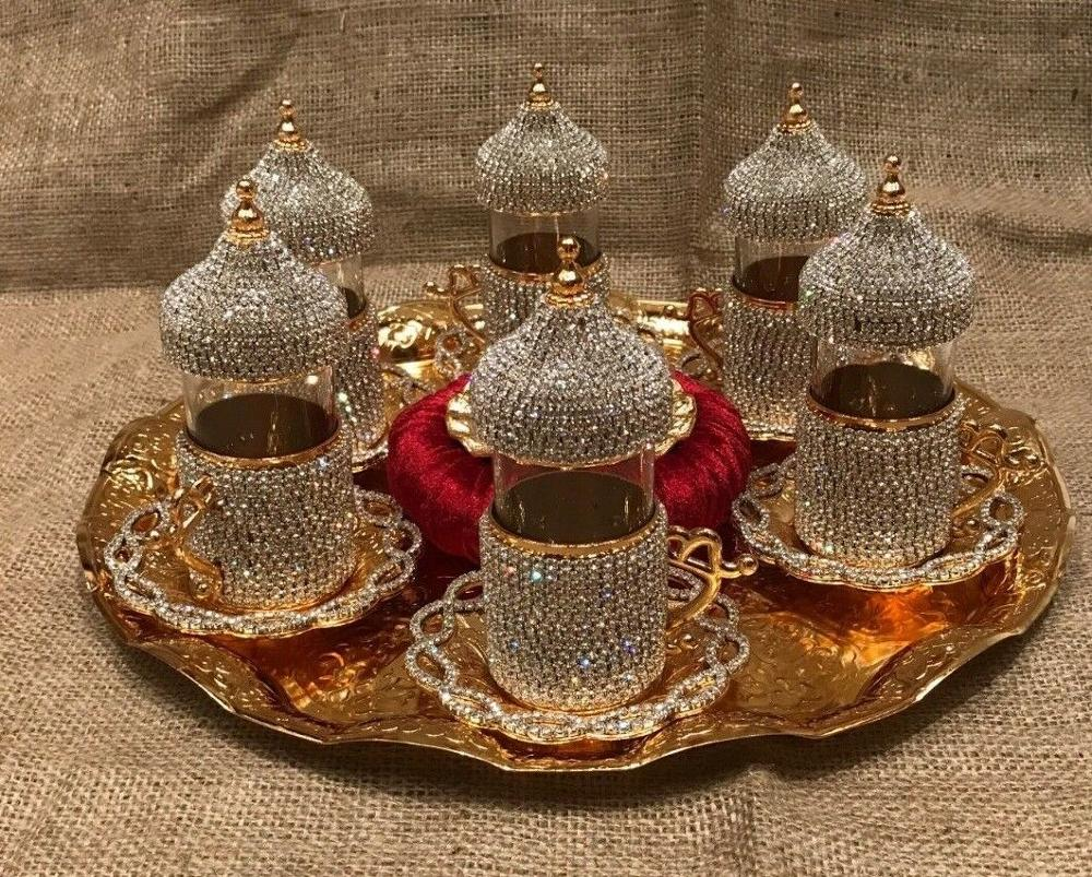 6 Person TEA Set Crystals And Beads Silver N Gold Color With Big Tray