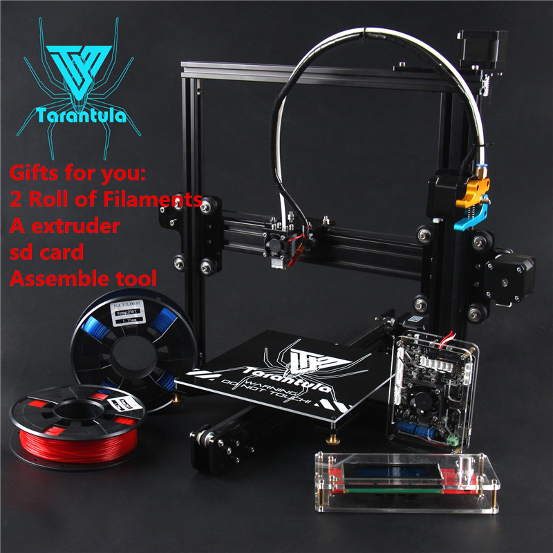 2017 Newest TEVO Tarantula 3D Printer DIY kit Impresora 3d Printer 2xFilaments+1xExtruder+SD Card+Assemble Tool as Gift 2017 classic tevo tarantula i3 aluminium extrusion 3d printer kit 3d printing 2 roll filament sd card titan extruder as gift