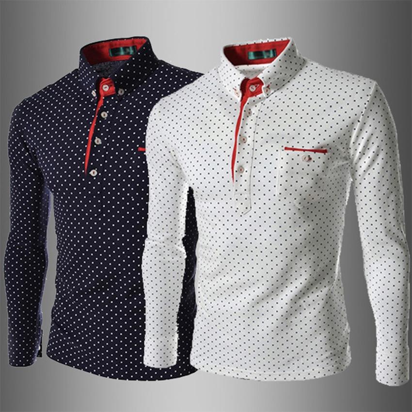 2018 New Brand Men Polka Dot   Polo   Shirt Long-Sleeve Slim Fit Shirt Men Cotton   Polo   Shirts Casual Shirts XXXL Size Free Shipping