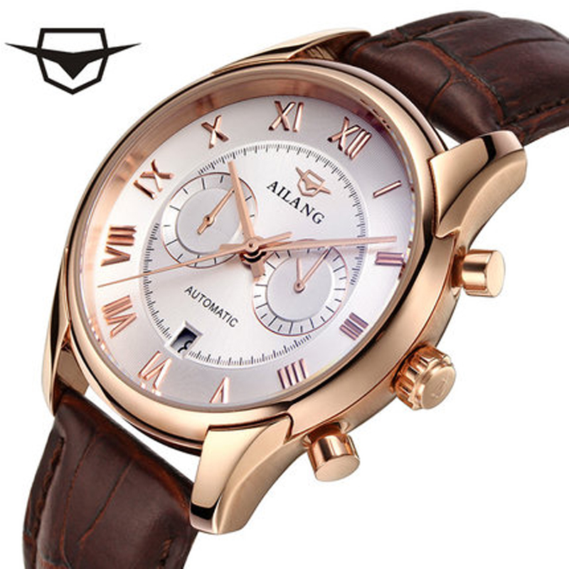 Men Automatic Mechanical Watch with Fashionable Leather Strap 2017 Top Luxury Luxury Business Dial Retro Skeleton Stainless Stee makibes cjiaba gm0003 luxury leather strap analog automatic mechanical wrist watch for men black with box