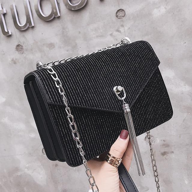 a056fa19c6 MJ Women Chain Bag PU Leather Female Crossbody Bag Fashion Tassel Shoulder  Handbag Small Flap Messenger