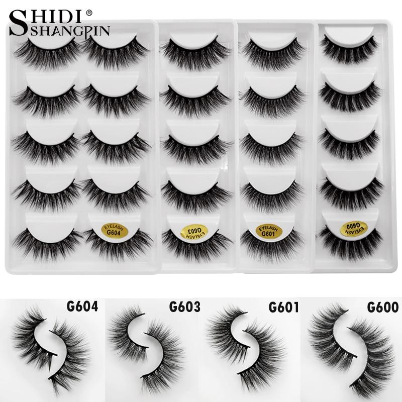 e3a716b13f5 SHIDISHANGPIN 5 Pairs Mink False Eyelashes Natural Long 3D Mink Lashes  Fluffy Eyelash Extension 1 box Makeup Full Strip Lashes