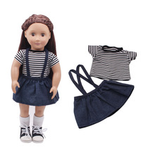 Born New Baby Fit 18 inch 43cm Clothes For Doll Flower Cloth Casual Denim Suit Accessories Gift