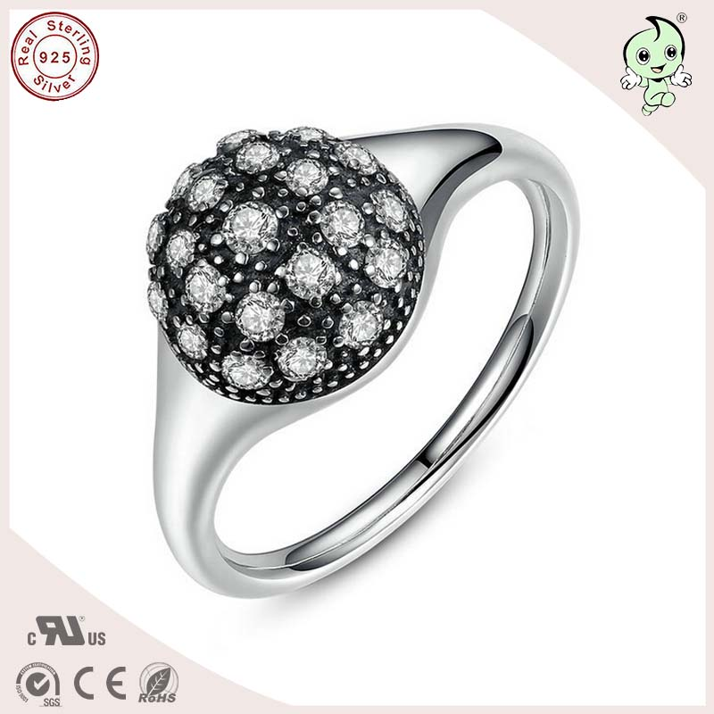 P&R products Good Quality Popular 925 Solid Silver Simple CZ Paving Ring For Girls for women