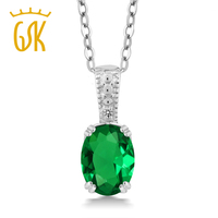 1 01 Ct Oval Green Simulated Emerald White Diamond 925 Sterling Silver Pendant