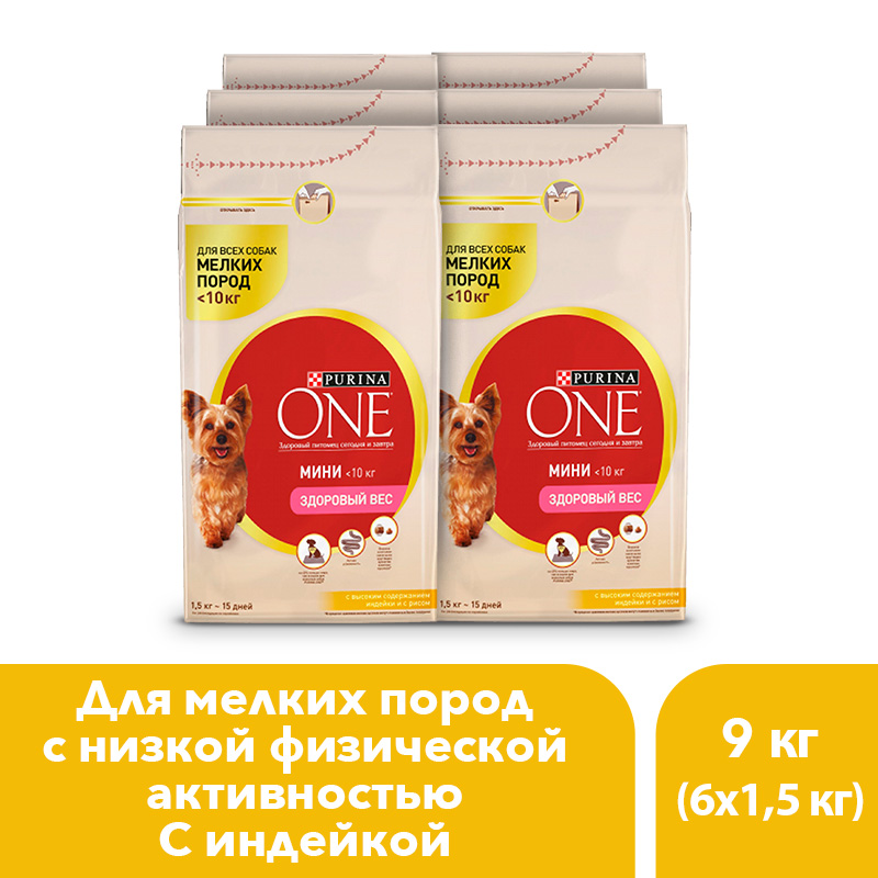 Dry dog food of small breeds Purina One Mini Healthy weight, with turkey and rice, 9 kg.