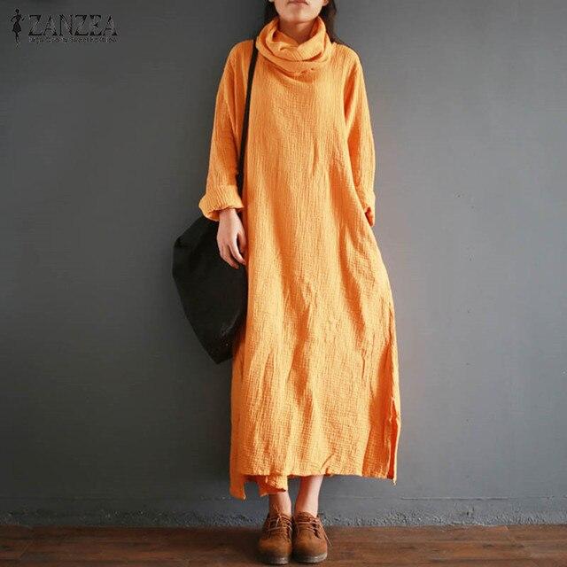 37302f0bd1 ZANZEA Autumn Retro Cotton Linen Kaftan Vestido Women Turtle Neck Long  Sleeve Split Long Dress Casual Loose Solid Plus Size 2018