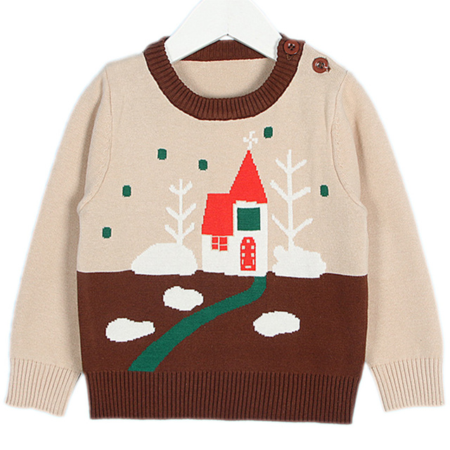boy christmas sweater cartoon print o neck children sweater kid winter clothing pullover cotton knit baby